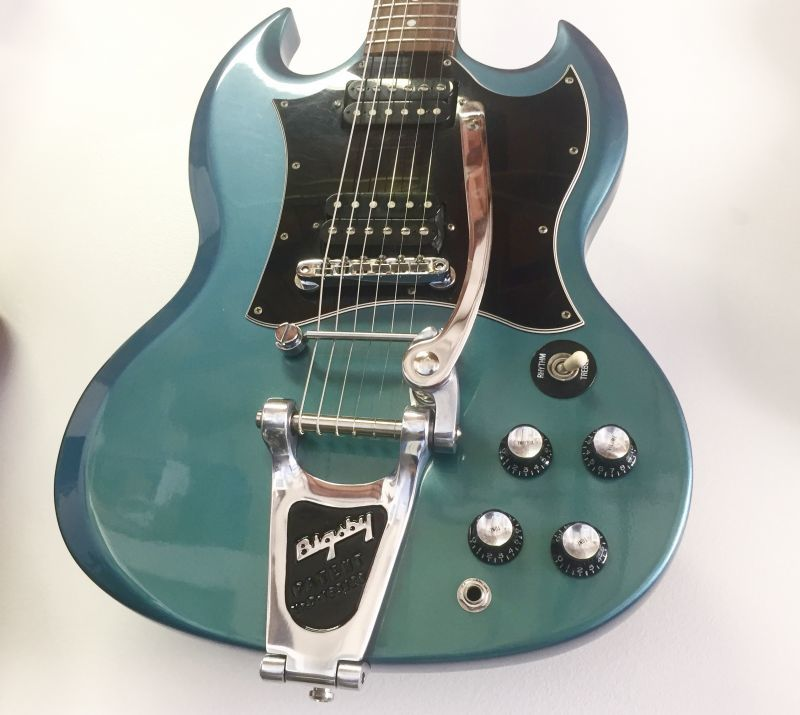 "2001 Gibson SG Blue Teal ""Flip Flop"" w/Bigsby B3 & Towner Down Tension Bar"